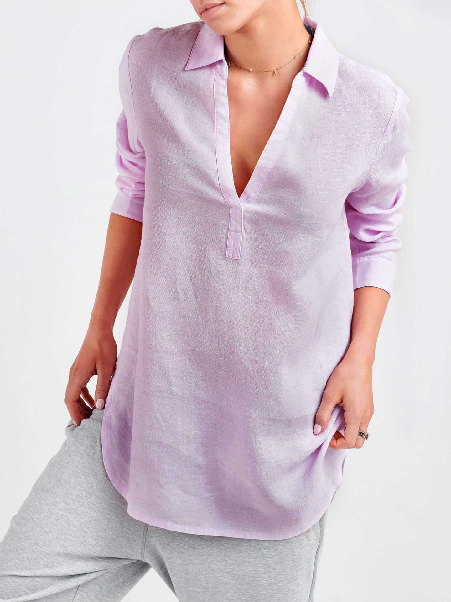 Chrissie linen cross dyed shirt