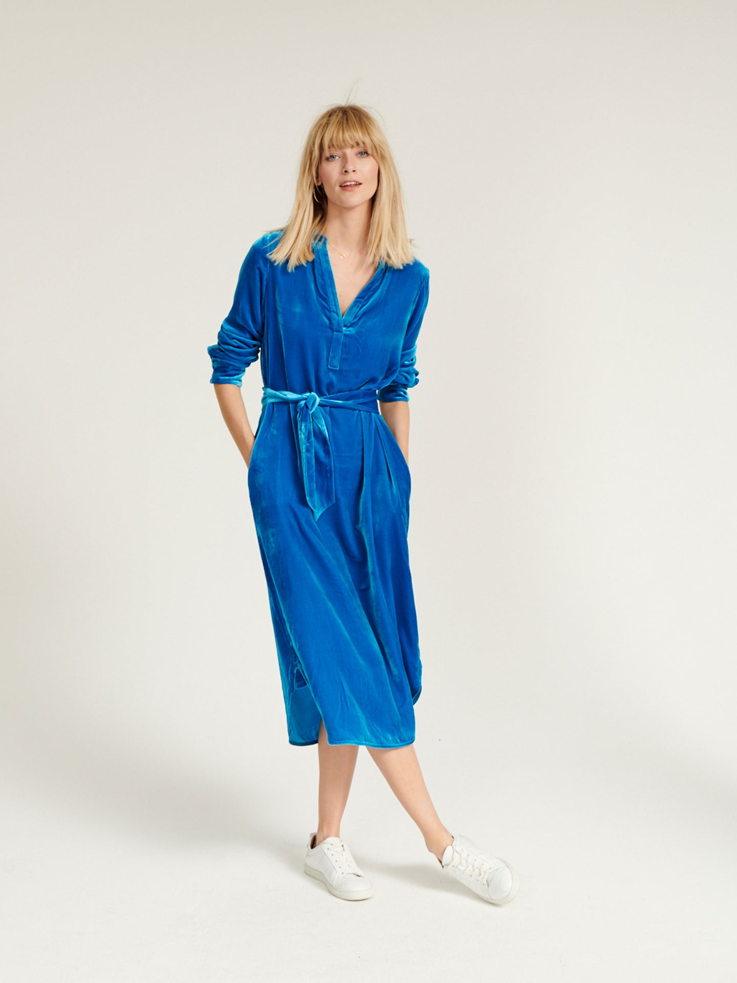 Maddie velvet shirt dress