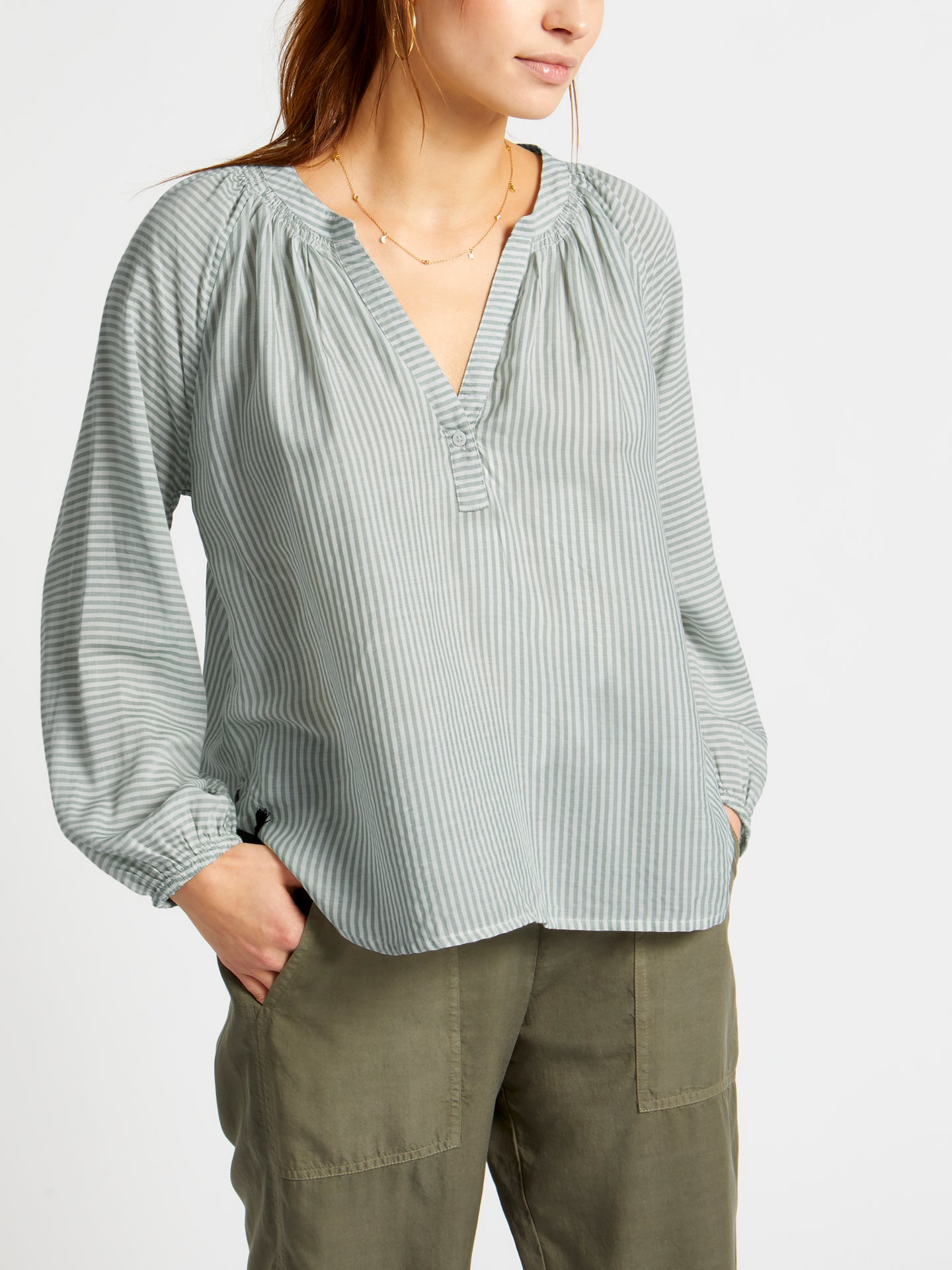 Olivia striped drapey shirt