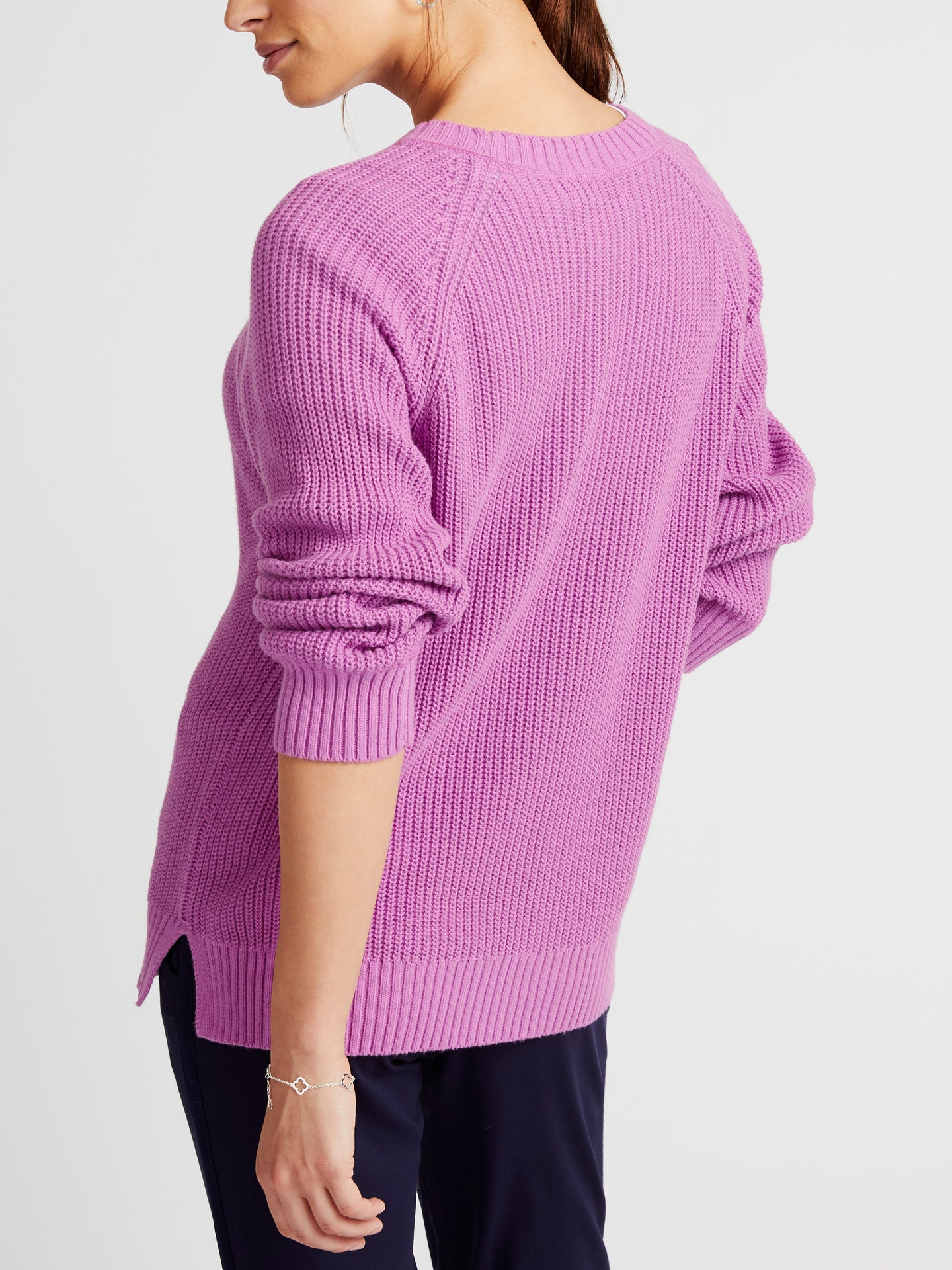 Annie cotton crew neck sweater purple