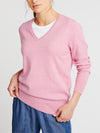 Lulu cotton cashmere v neck sweater