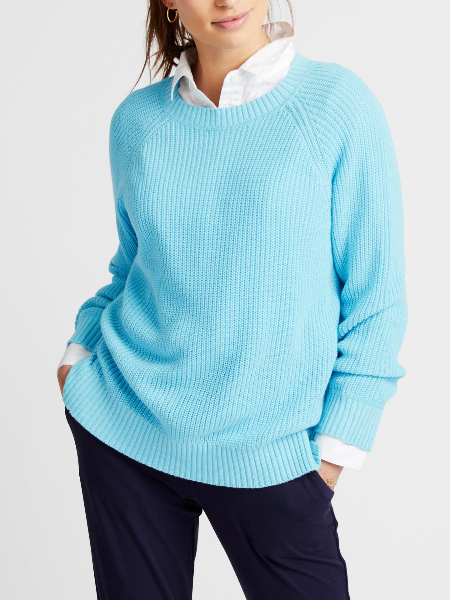 Annie cotton crew neck sweater blue