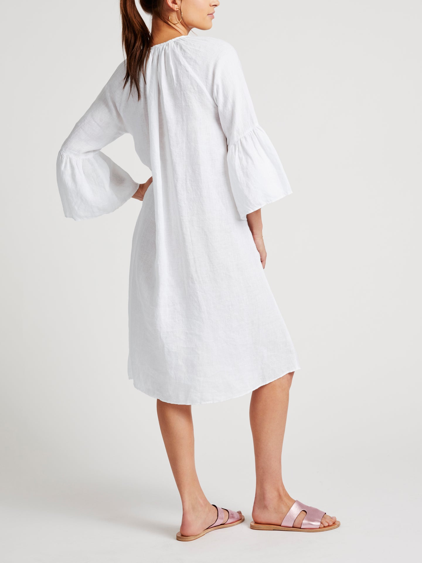 Elizabeth linen fluted sleeve dress
