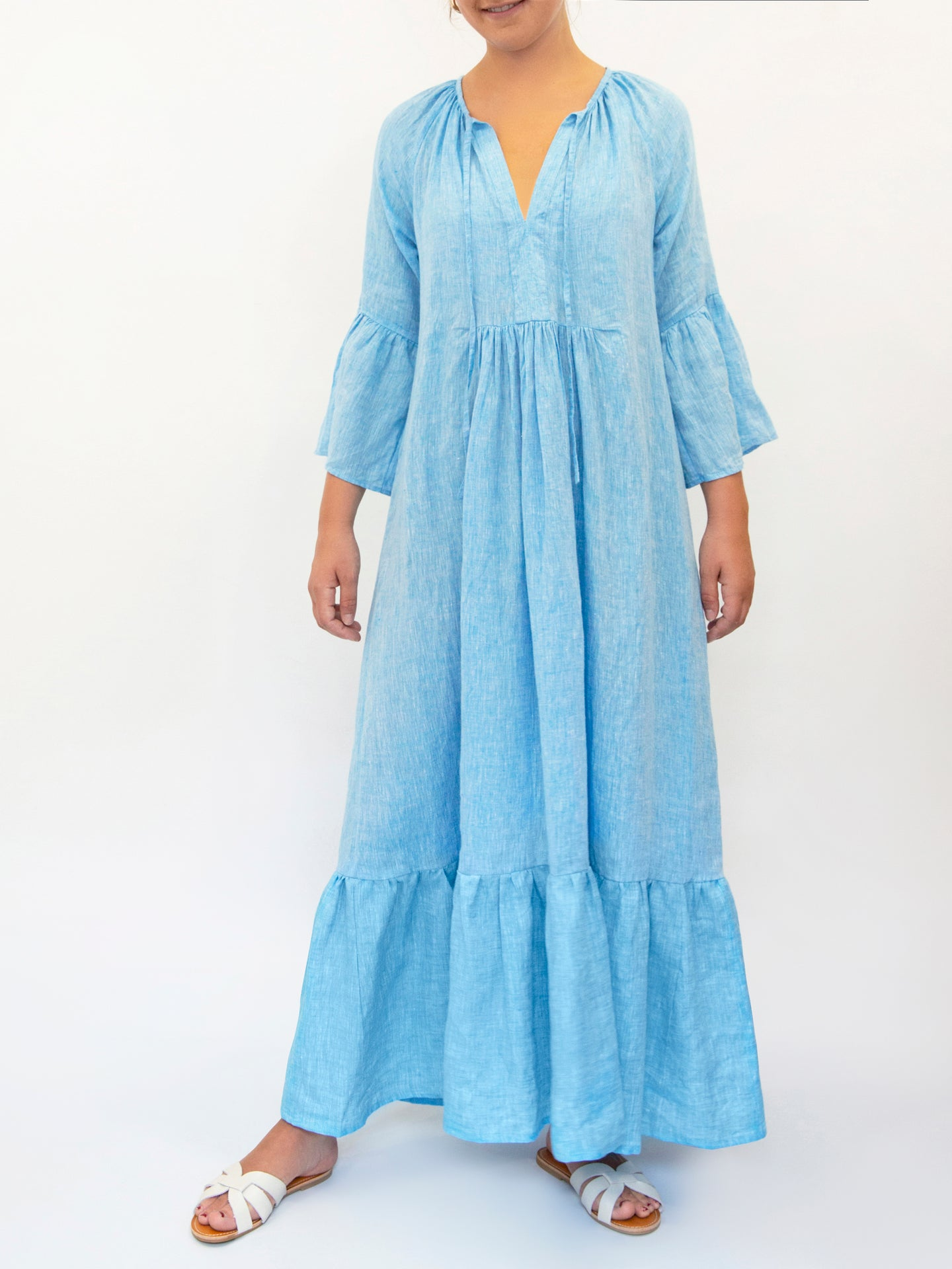 Elizabeth fluted sleeve maxi dress