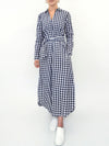 Chrissie cotton check maxi dress