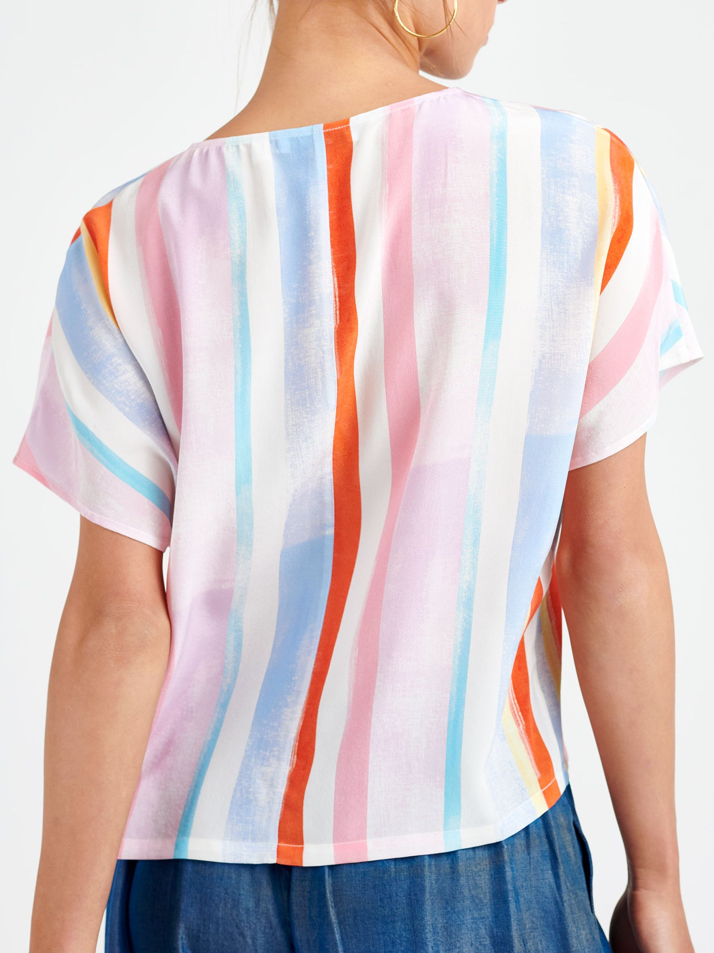 Georgie silk stripe t-shirt