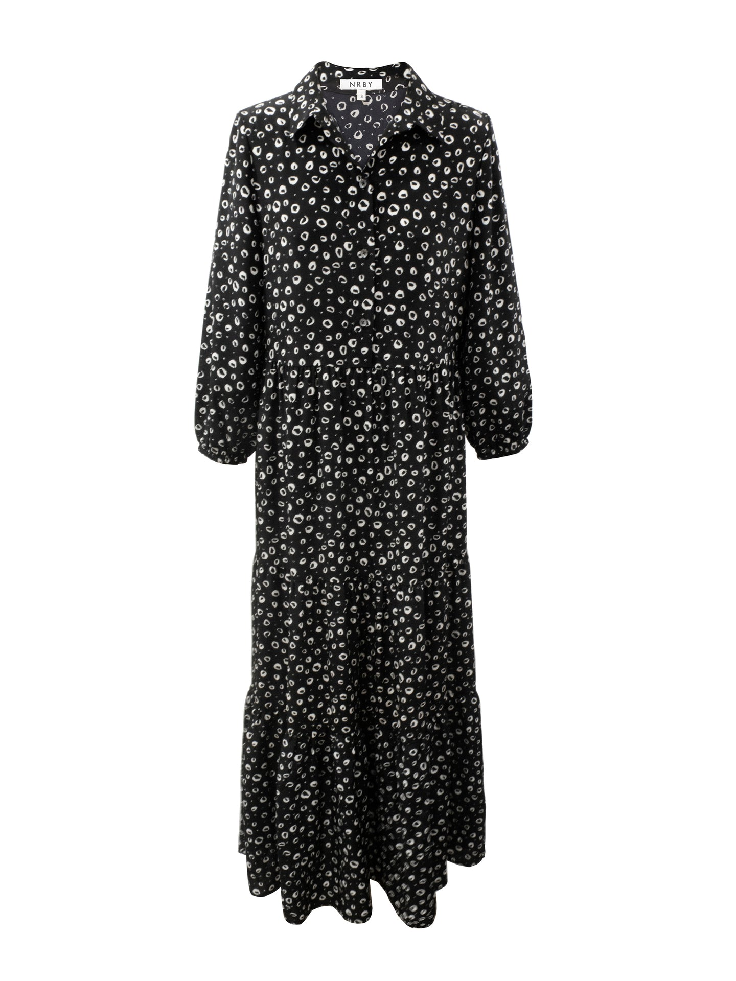 Gina silk spot ruffle hem dress