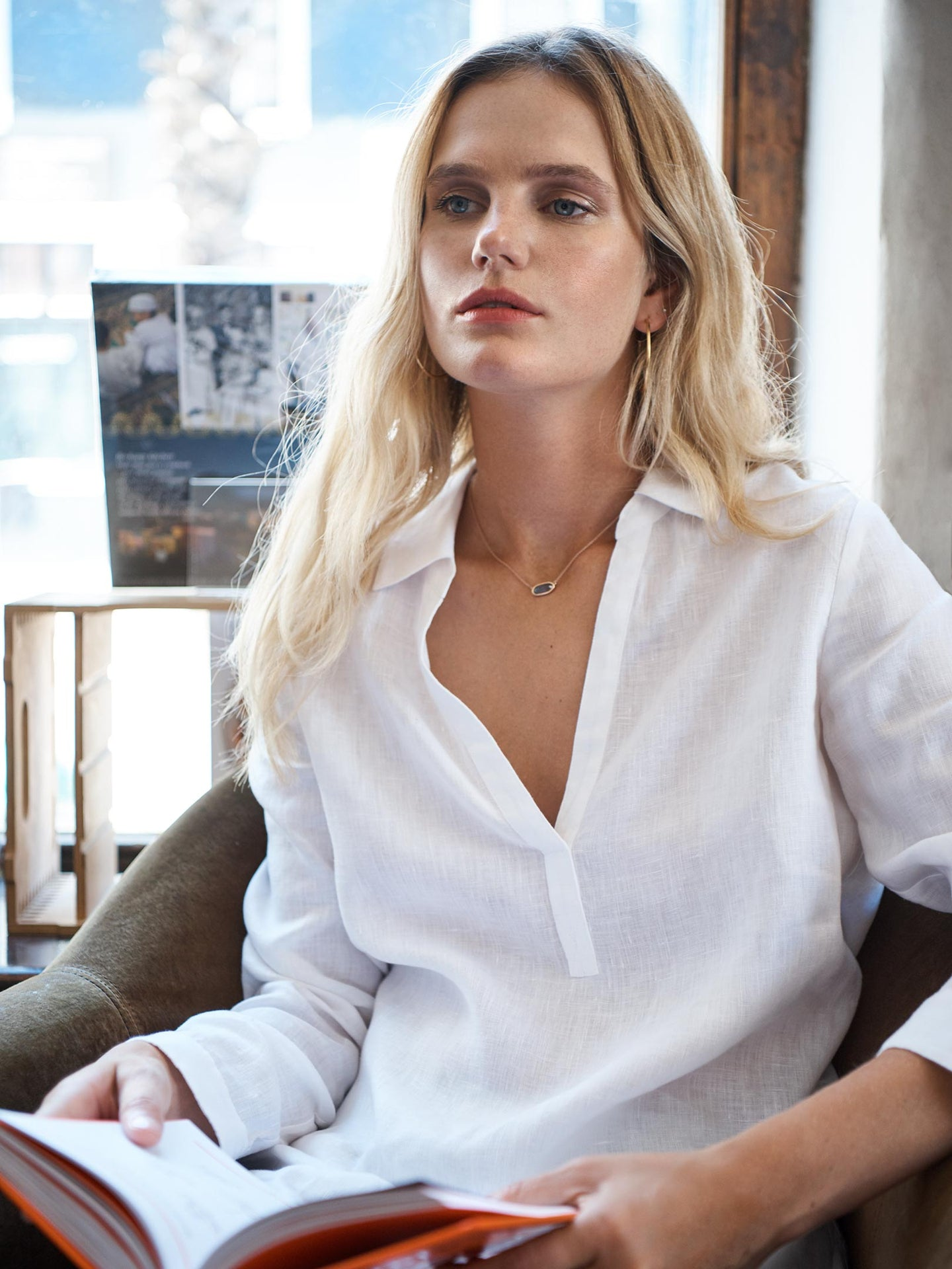 Chrissie linen shirt white
