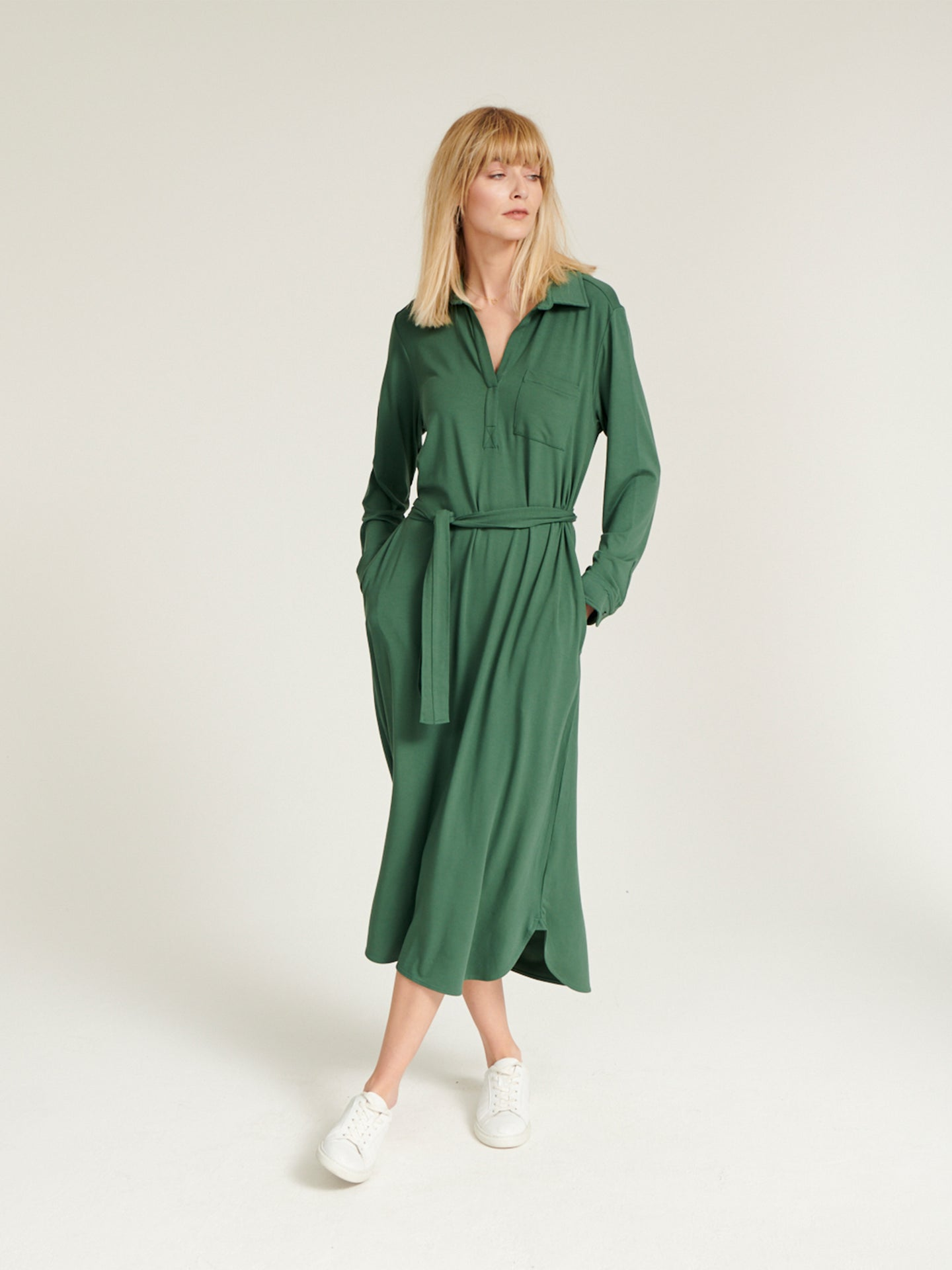 Lexie jersey belted shirt dress sage