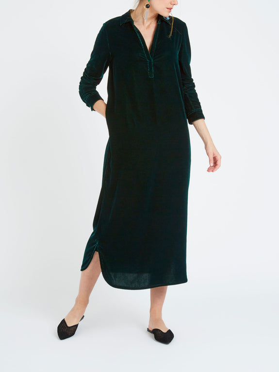 Chrissie velvet maxi dress forest green