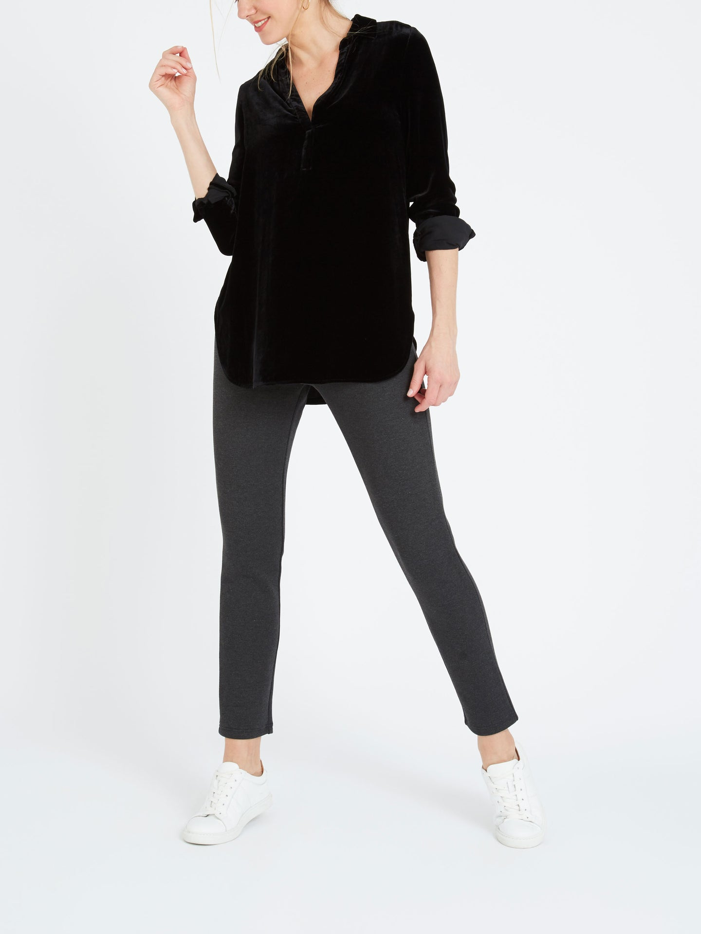 Ella velvet shirt black