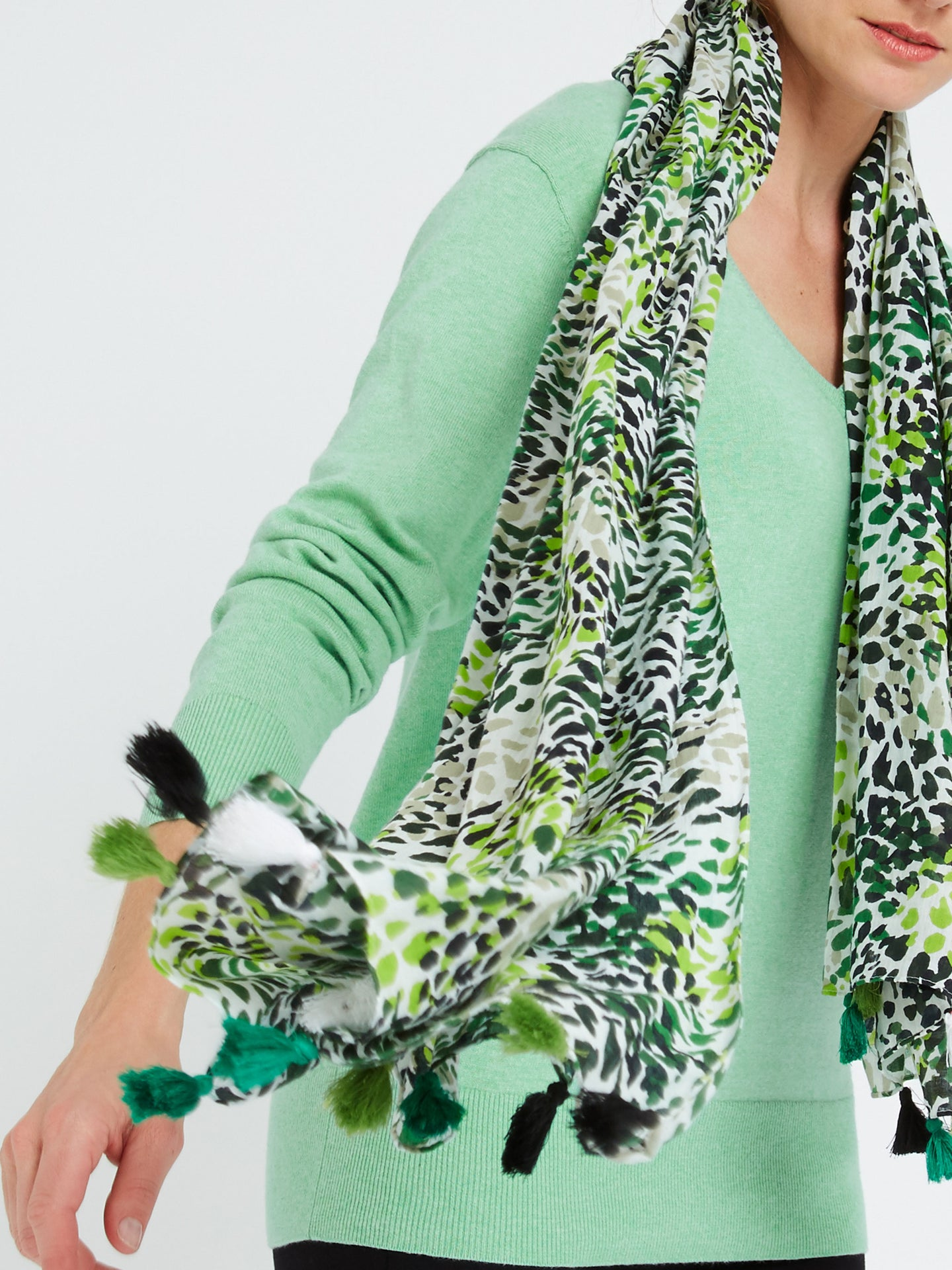 Jules Animal Print Scarf Green