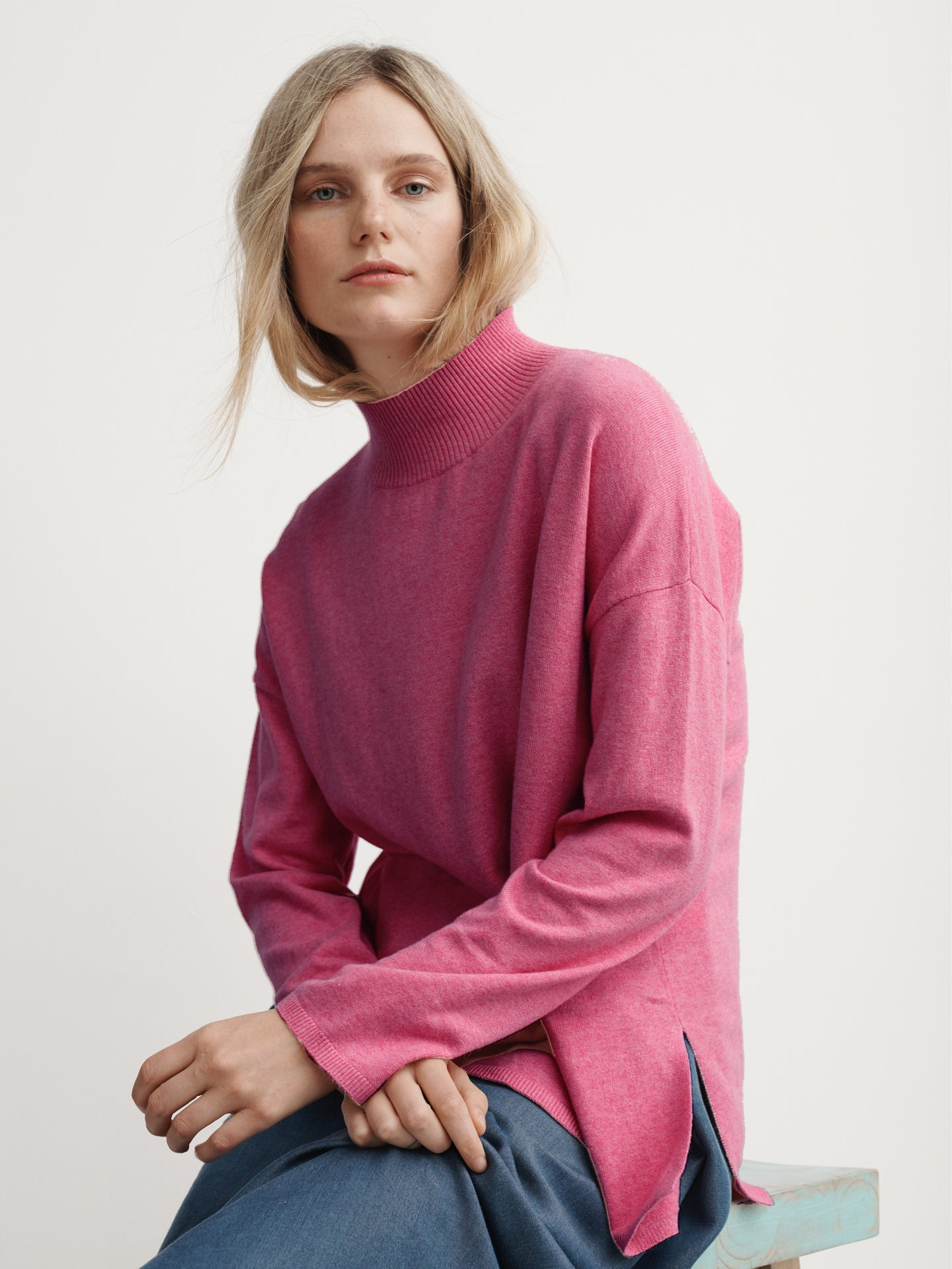 Rowan cotton cashmere high neck sweater hot pink