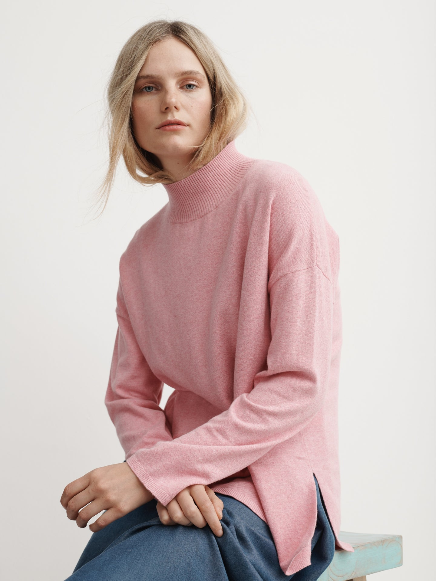 Rowan cotton cashmere high neck sweater soft pink
