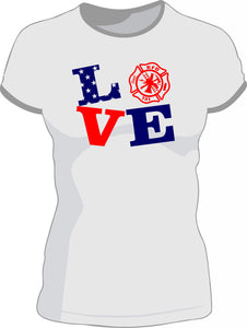 Firefighter LOVE shirt with department and badge number