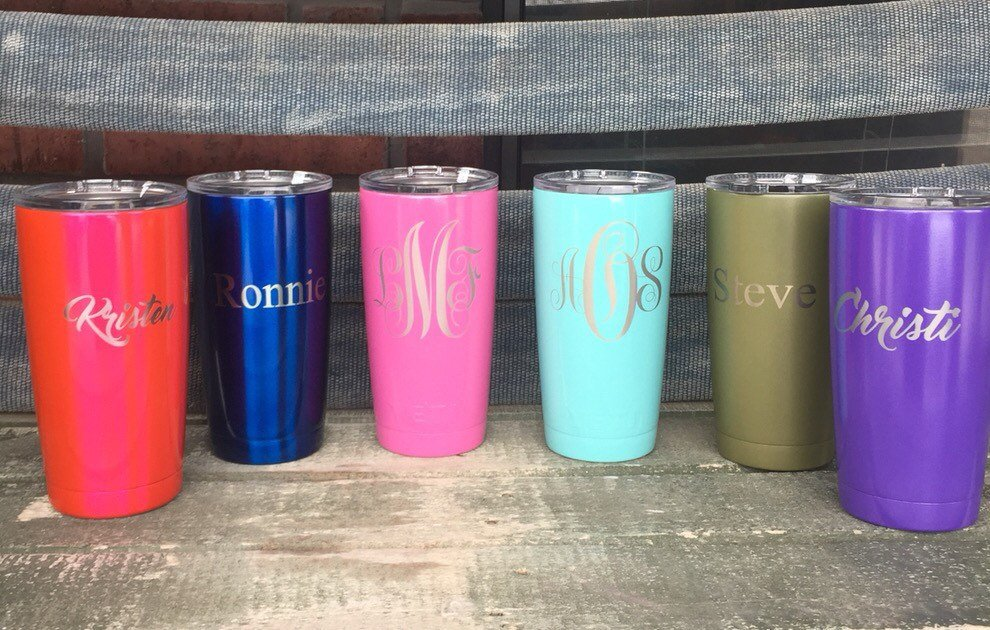 20 oz laser engraved and Powder Coated YETI,RTIC,Ozark