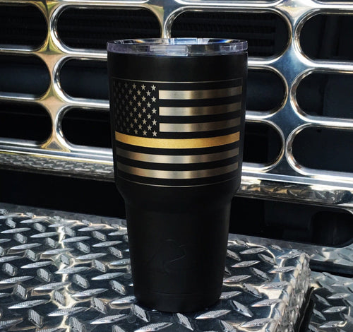 American Flag  with Thin gold line tumbler