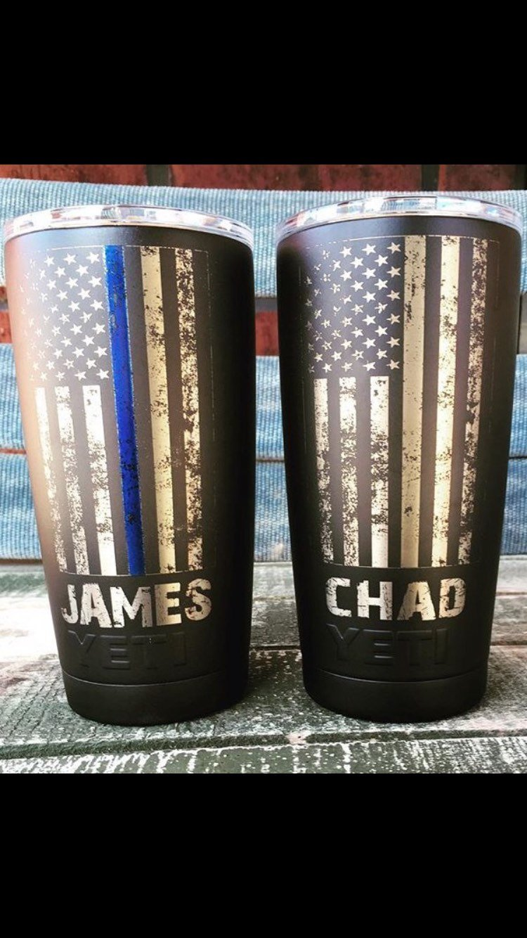 Distressed Thin Line powder coated stainless steel cup
