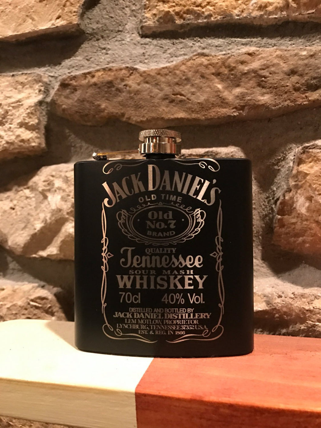 6oz flask with custom laser engraving.