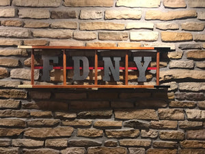 Wooden Ladder with laser cut letters and thin red line