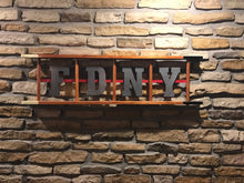 Load image into Gallery viewer, 3 space Wooden Ladder with 3 laser cut letters and thin red line