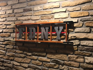 3 space Wooden Ladder with 3 laser cut letters and thin red line