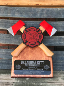 Crossed axe firefighter gift, fire fighter award