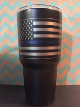 Load image into Gallery viewer, American Flag  with Thin red line/Thin Blue line YETI, RTIC, OZAR Trail tumbler