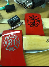 Load image into Gallery viewer, Customized Firefighter Axe wedding cake cutter.