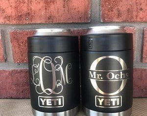 Pre-Coated YETI 12oz Colster with laser engraved monogram or image
