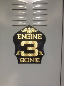 Firefighter helmet shield custom decal.