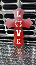 Load image into Gallery viewer, Firefighter LOVE wooden cross.