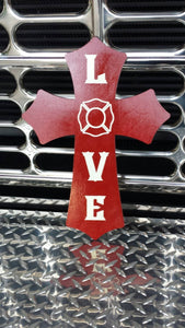 Firefighter LOVE wooden cross.