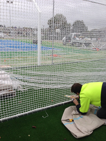 Installing cricket nets at Pleasant Point