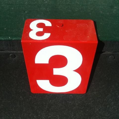 Hanging Rink Number - standard white on red