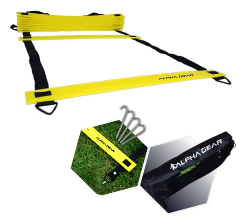 Speed ladder with grass spikes and carry bag