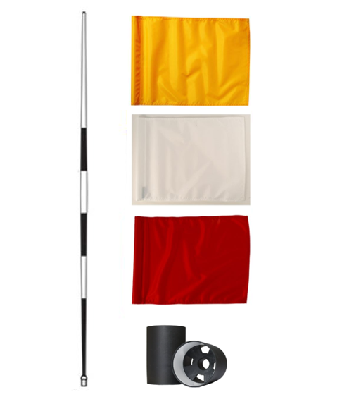 Tournament pole, HD flag, aluminium cup set