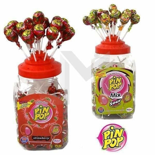 PIN POP Strawberry And Sour Mix Gum Lollipops