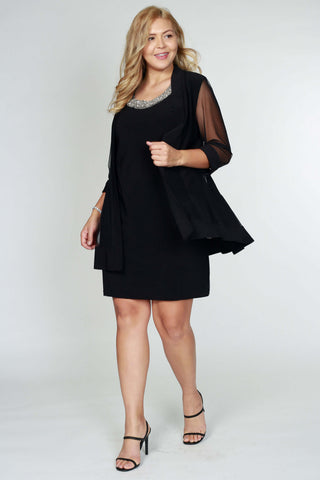 R&M Richards Short Formal Mother of the Bride Plus Size Dress - The Dress Outlet Black