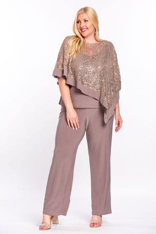 R&M Richards Long Formal Poncho Pant Suit - The Dress Outlet Mocha