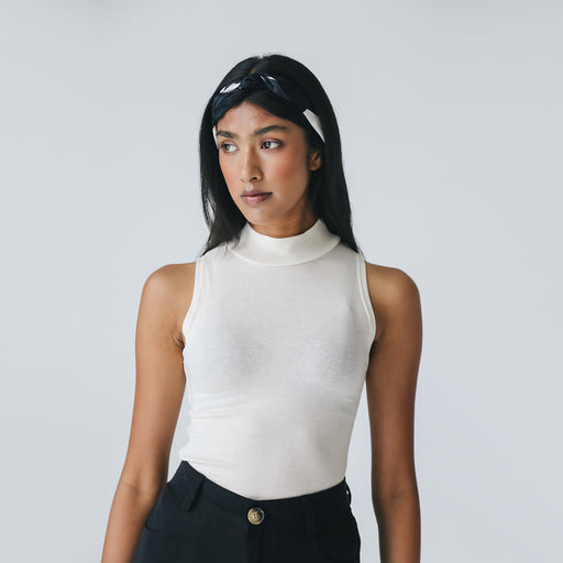 Soft Wool Mock Neck Top