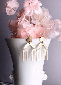 double rainbow earrings - brushed brass
