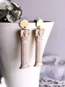 column earrings - old stone