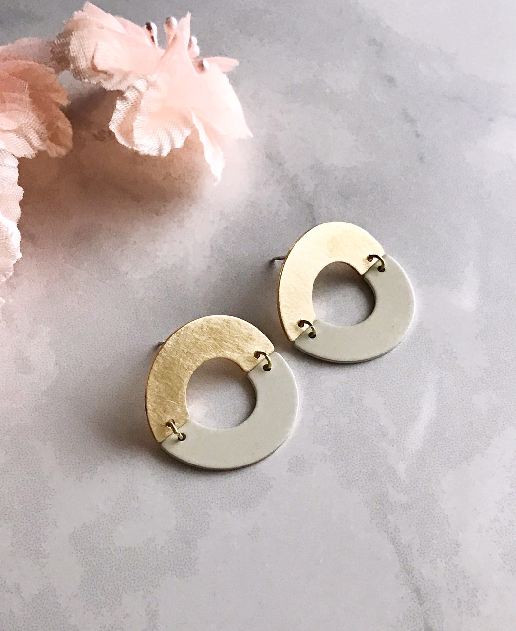 split ring earrings - ivory