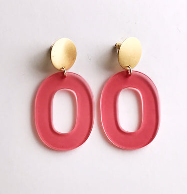 coco earrings - translucent pink