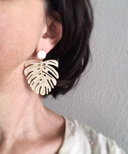 monstera earrings - brushed brass