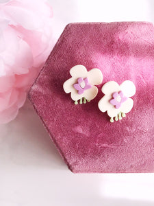 cream puff earrings