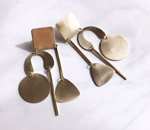 geometry lesson earrings - brushed brass