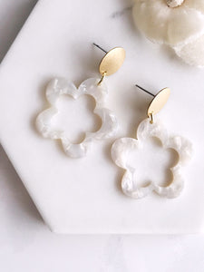 star flower earrings - frost