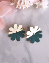 split flower earrings - sage